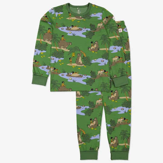 Todelt pyjamas med jungelboken-trykk grønn