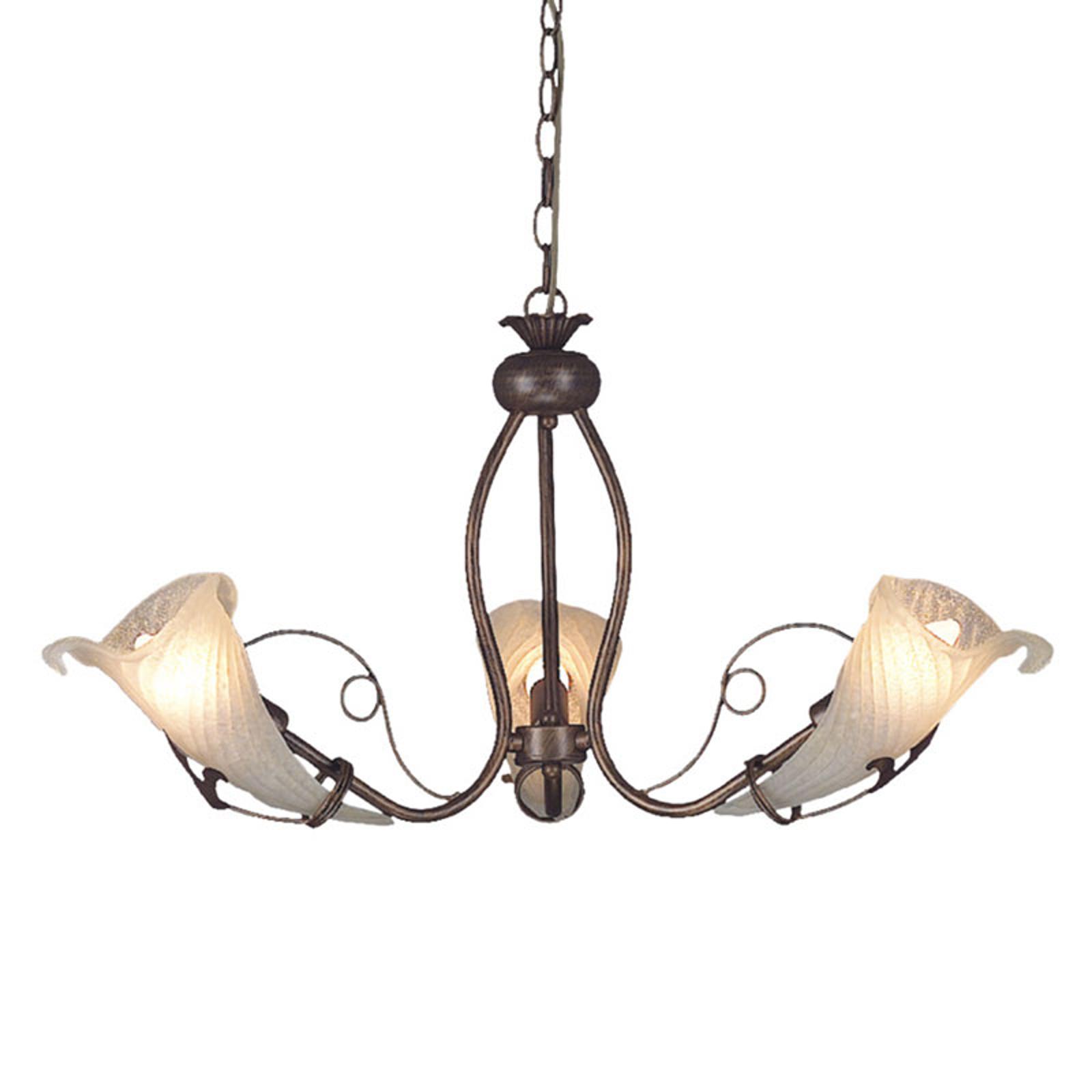 Kaunismuotoinen riippuvalaisin Cros, 3-lamppuinen