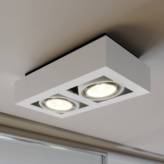 LED-kattospotti Ronka, GU10, 2-lamppuinen, valk.