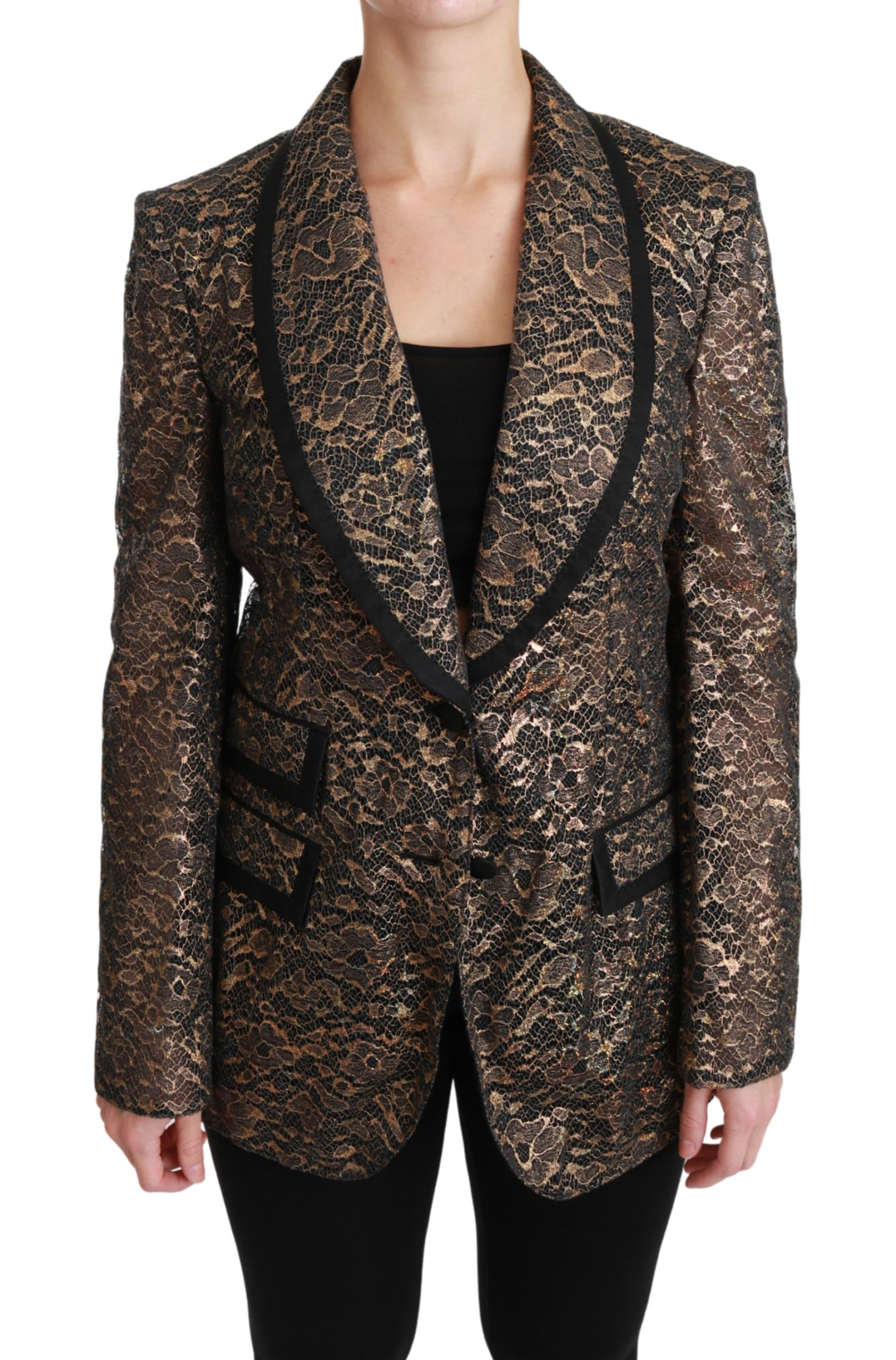 Dolce & Gabbana Women's Lace Floral Blazer Jacket Gold JKT2562 - IT44|L