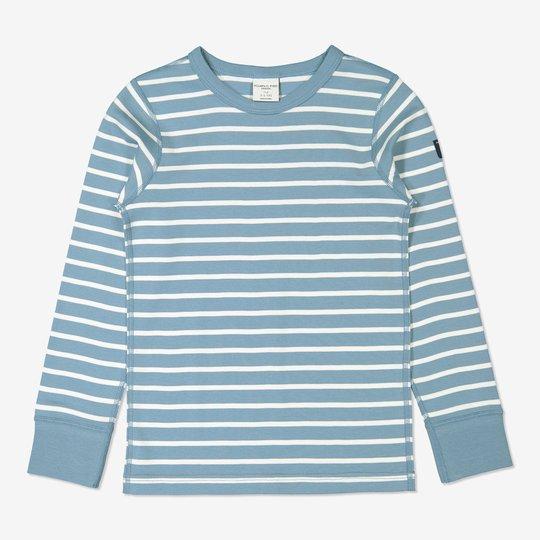 Stripet genser blå