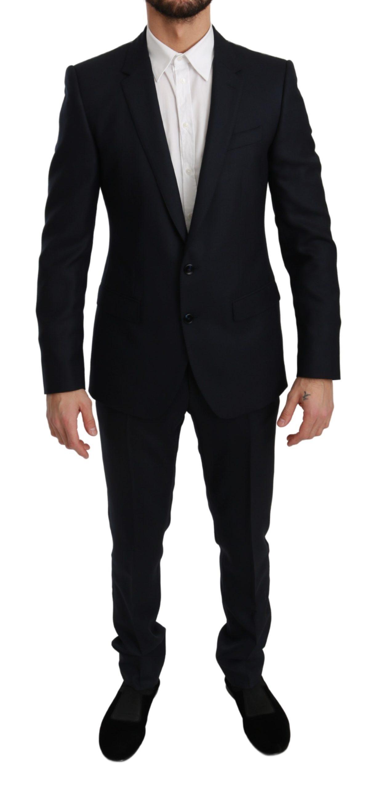 Dolce & Gabbana Men's Slim Fit 2 Piece Wool MARTINI Suit Blue KOS1773 - IT48   M