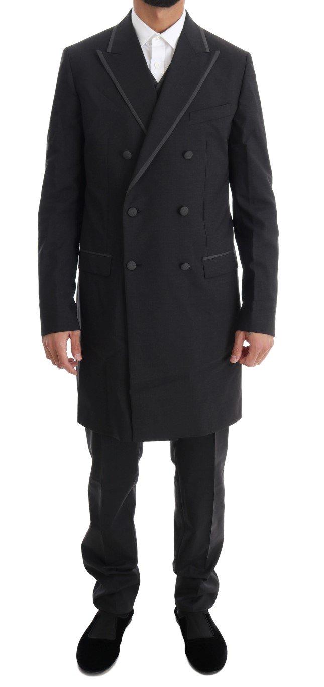 Dolce & Gabbana Men's Wool Stretch 3 Piece Two Button Suit Gray KOS1093 - IT48 | M