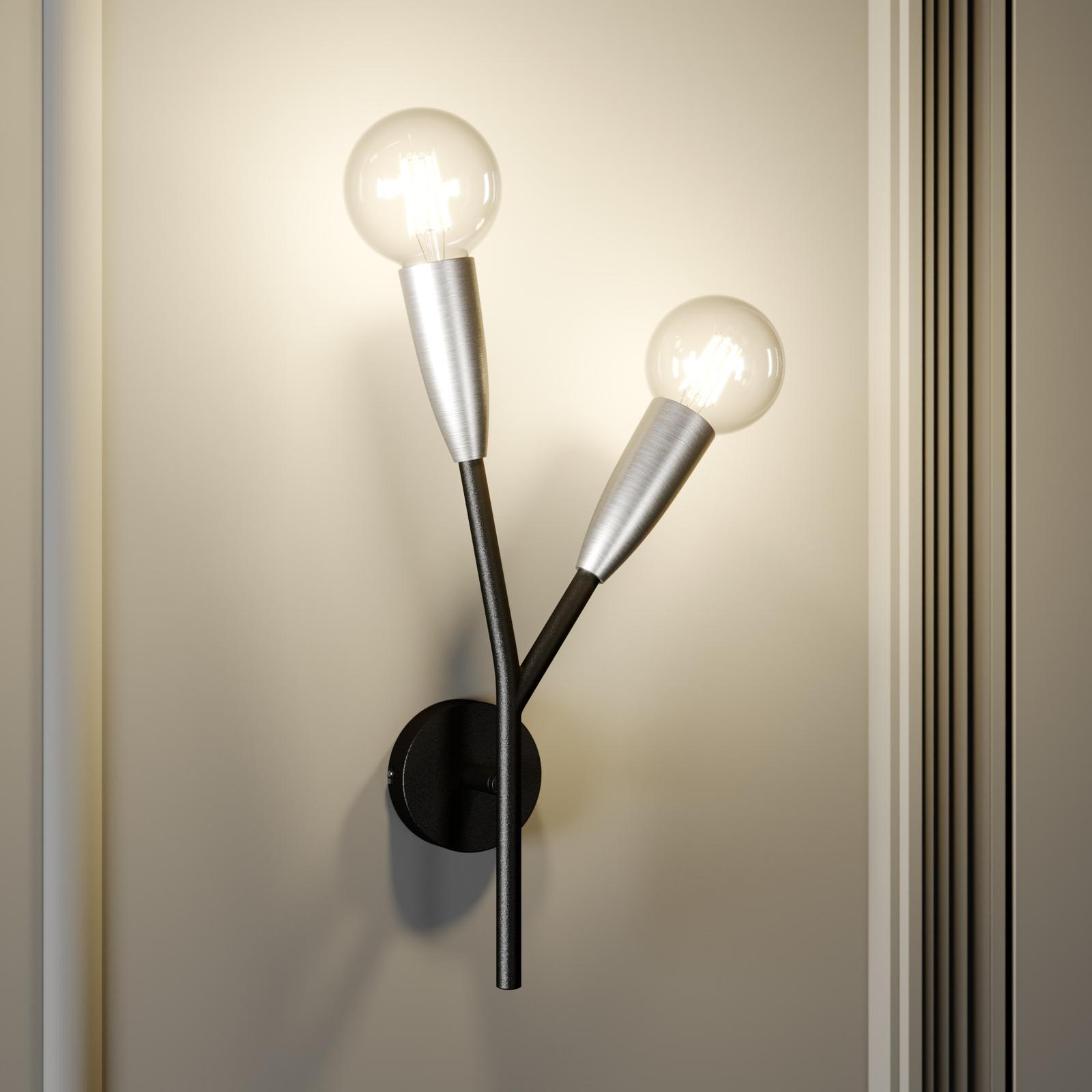 Lucande Carlea -seinävalo, 2-lamp. musta-nikkeli