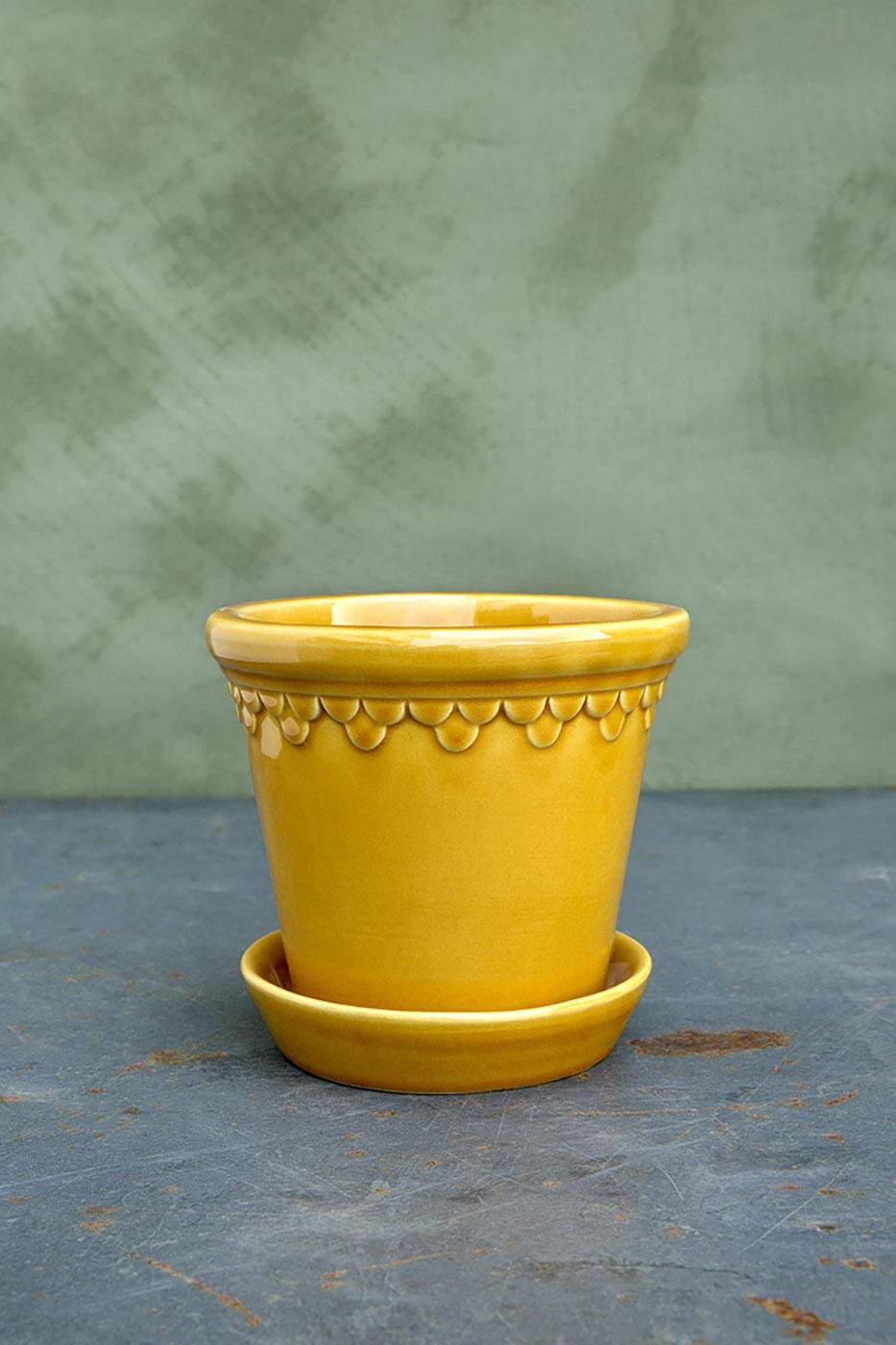 Kruka Köpenhamn 16 cm gul inkl. fat