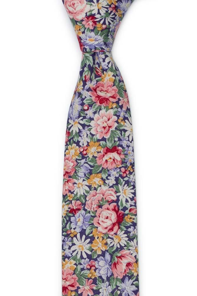 Bomull Smale Slips, Rosa, blå, gule & grønne blomster på mørk lilla