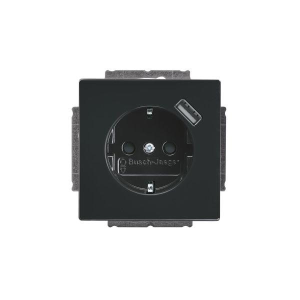 ABB 2011-0-6158 Vegguttak 1-veis, inkl. USB 0,7 A Antrasitt