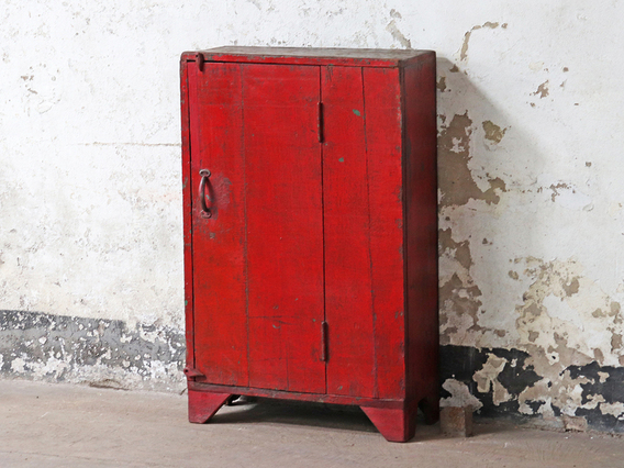 Rustic Vintage Red Cabinet Red