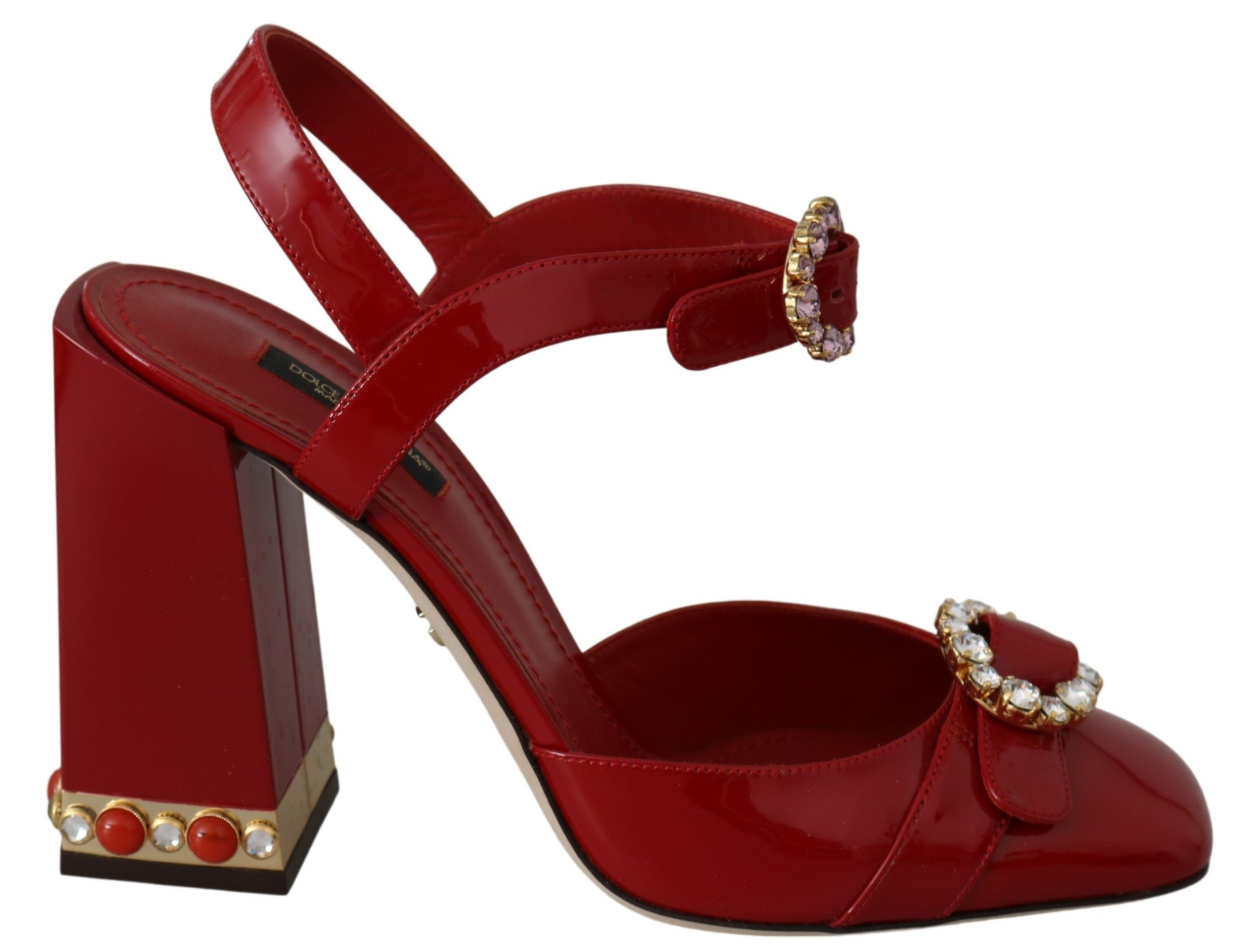 Dolce & Gabbana Women's Crystals Ankle Strap Sandal Red LA6654 - EU40/US9.5