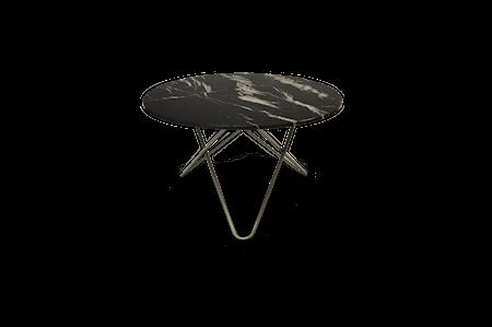 Big O Spisebord Rustfritt Stål/Svart Marmor Ø120