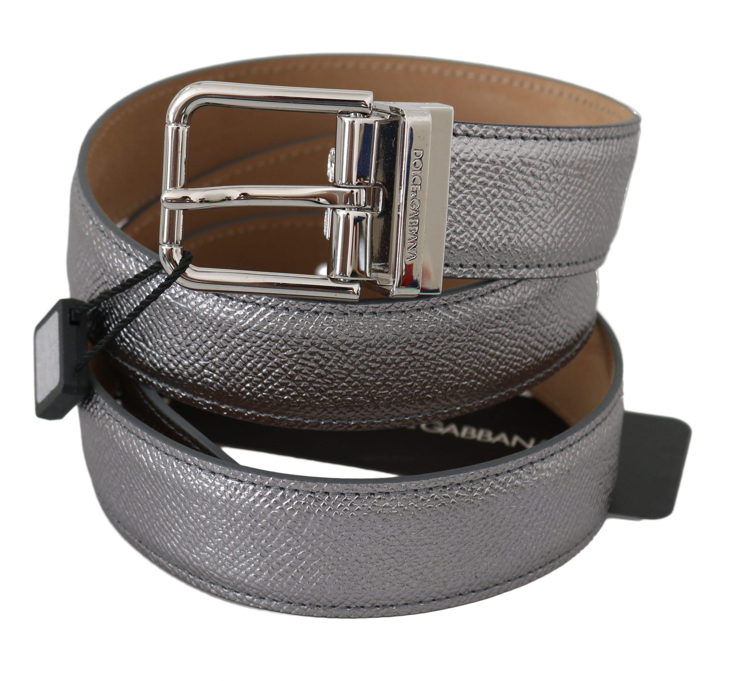 Dolce & Gabbana Men's Leather Shiny Metal Buckle Belt Silver BEL60358 - 80 cm / 32 Inches