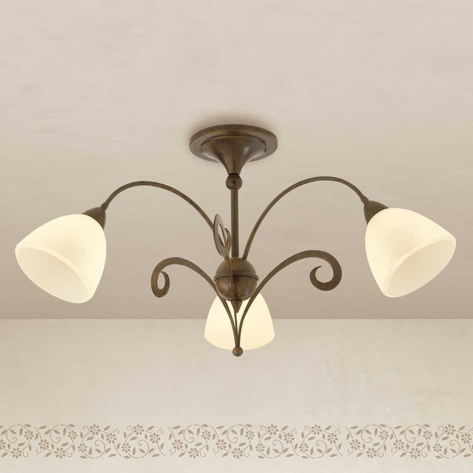 Rustikk taklampe Luca, 3 lys