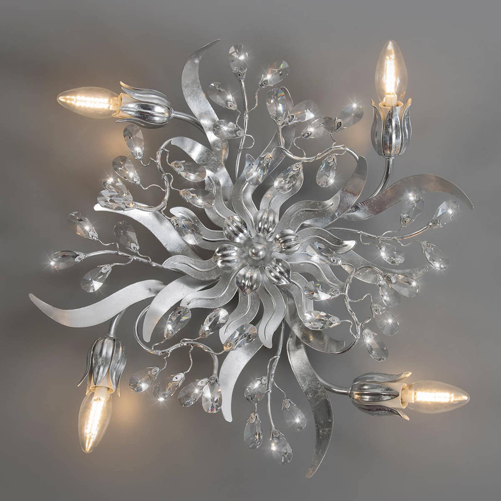 Taklampe Sara i bladsølv, 4 lys