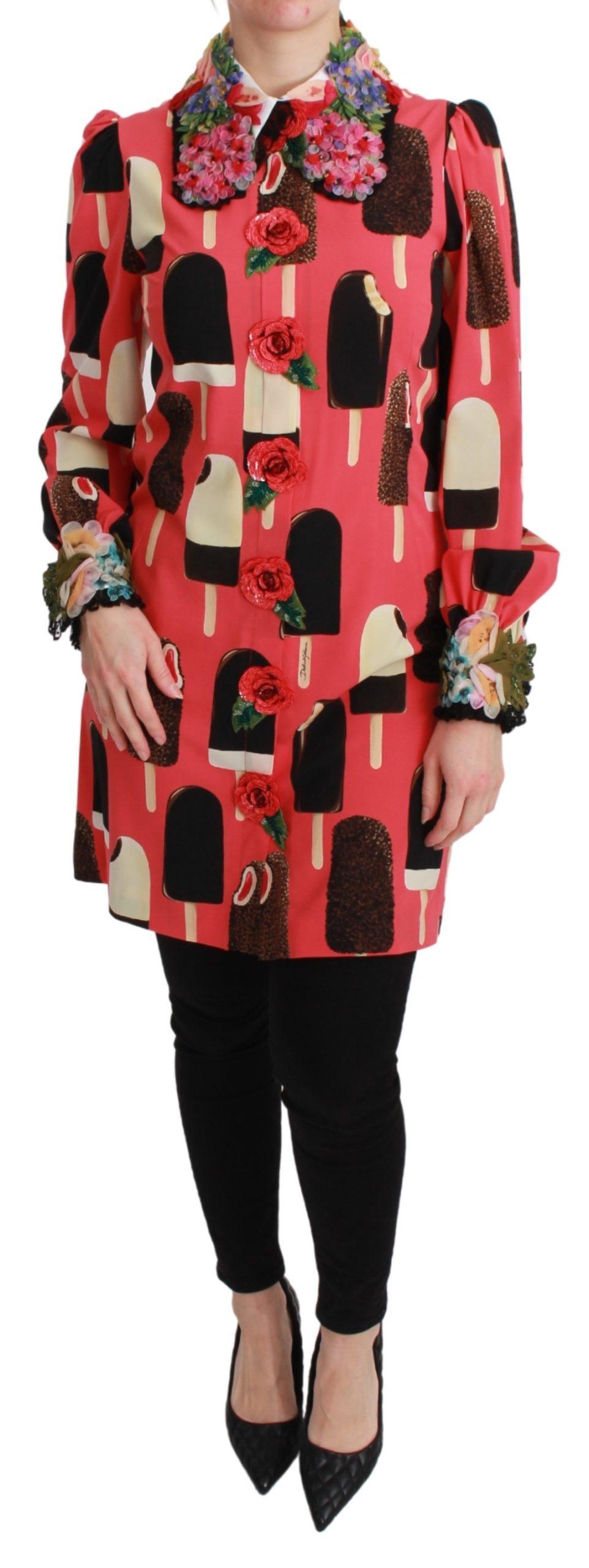 Dolce & Gabbana Women's Ice Cream Roses Sequined Dress Pink TSH2671 - IT36   XS
