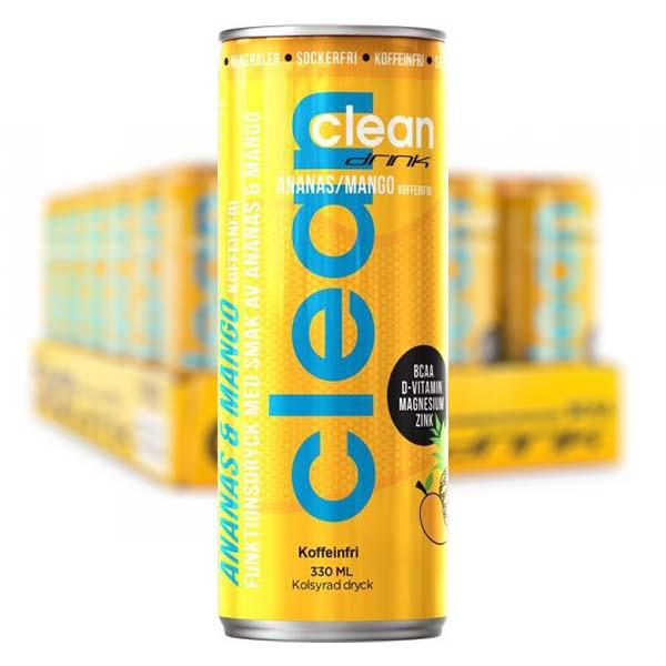 Clean Ananas/Mango Koffeinfri 33 cl x 24