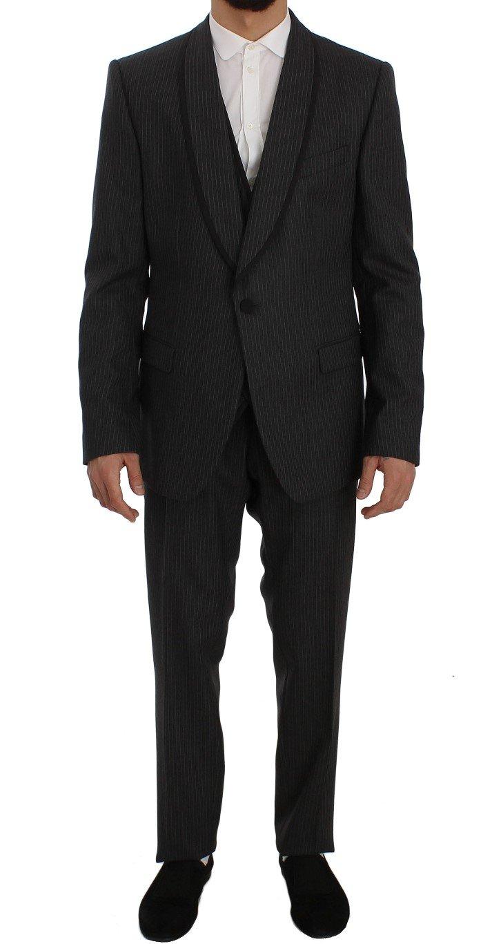 Dolce & Gabbana Men's Striped Wool Slim Fit 3 Piece Suit Gray SIG50089 - IT54 | XL