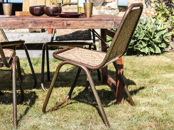 Woven Vintage Stacking Chair Brown Medium