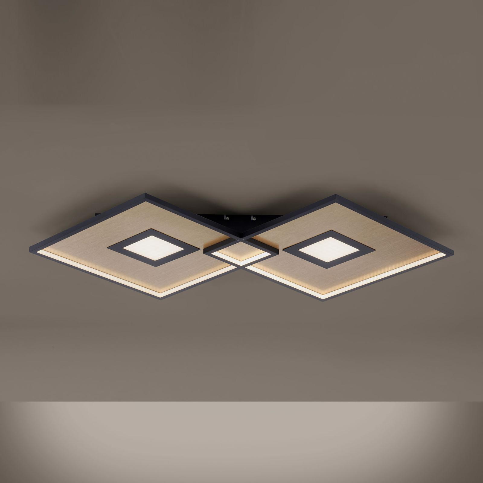 LED-kattovalaisin Amara, kaksi neliötä, musta