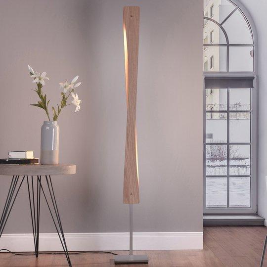 Lucande Lian LED-gulvlampe, eiketre