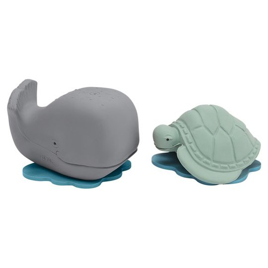 Hevea Badleksaker Naturgummi - Ingolf the whale & Dagmar the turtle