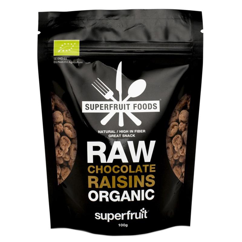 """Snacks """"Raw Chocolate Raisins"""" 100g - 58% rabatt"""