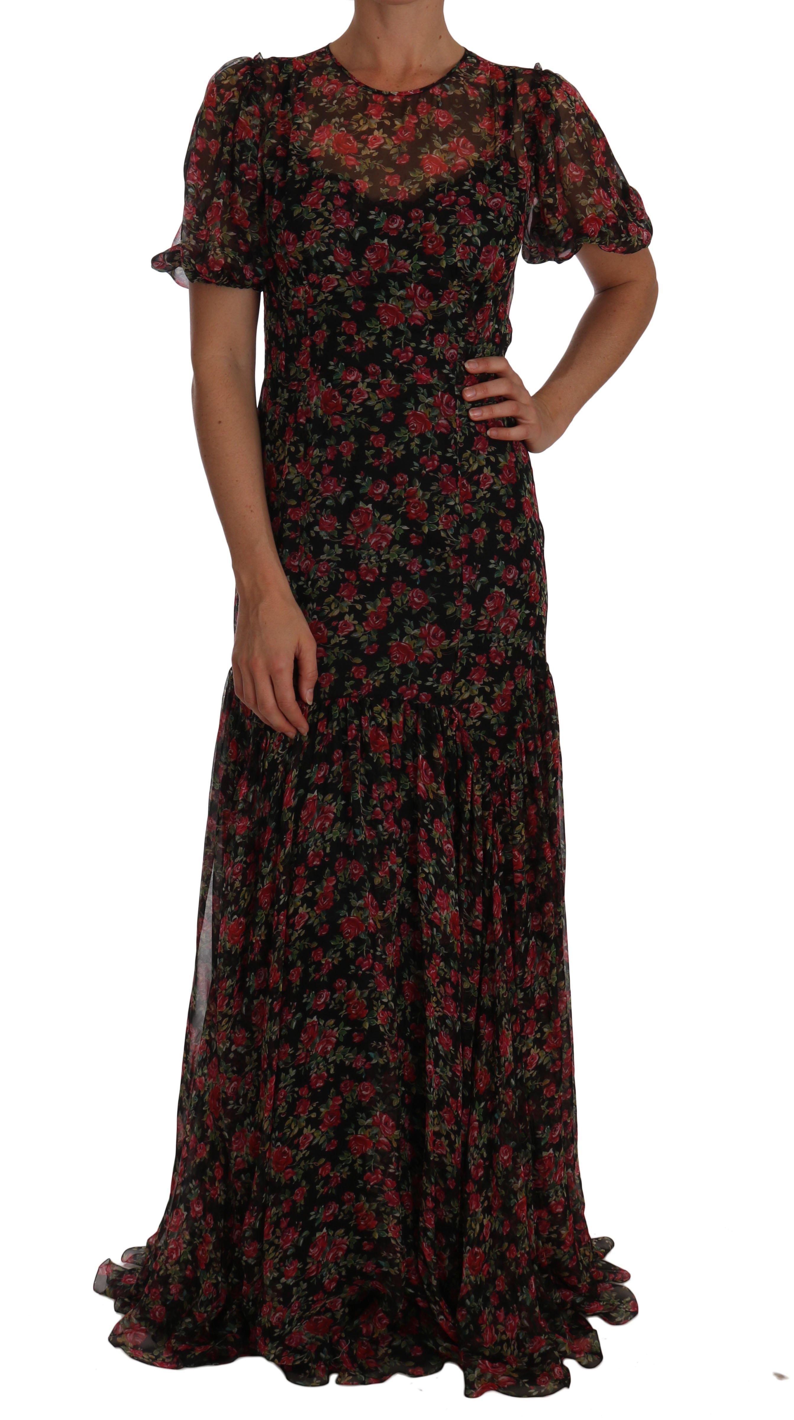 Dolce & Gabbana Women's Floral Roses A-Line Shift Gown Black DR1449 - IT40|S