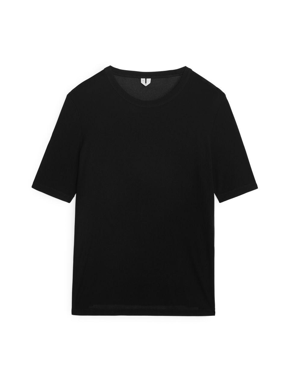 Silk Rib T-shirt - Black