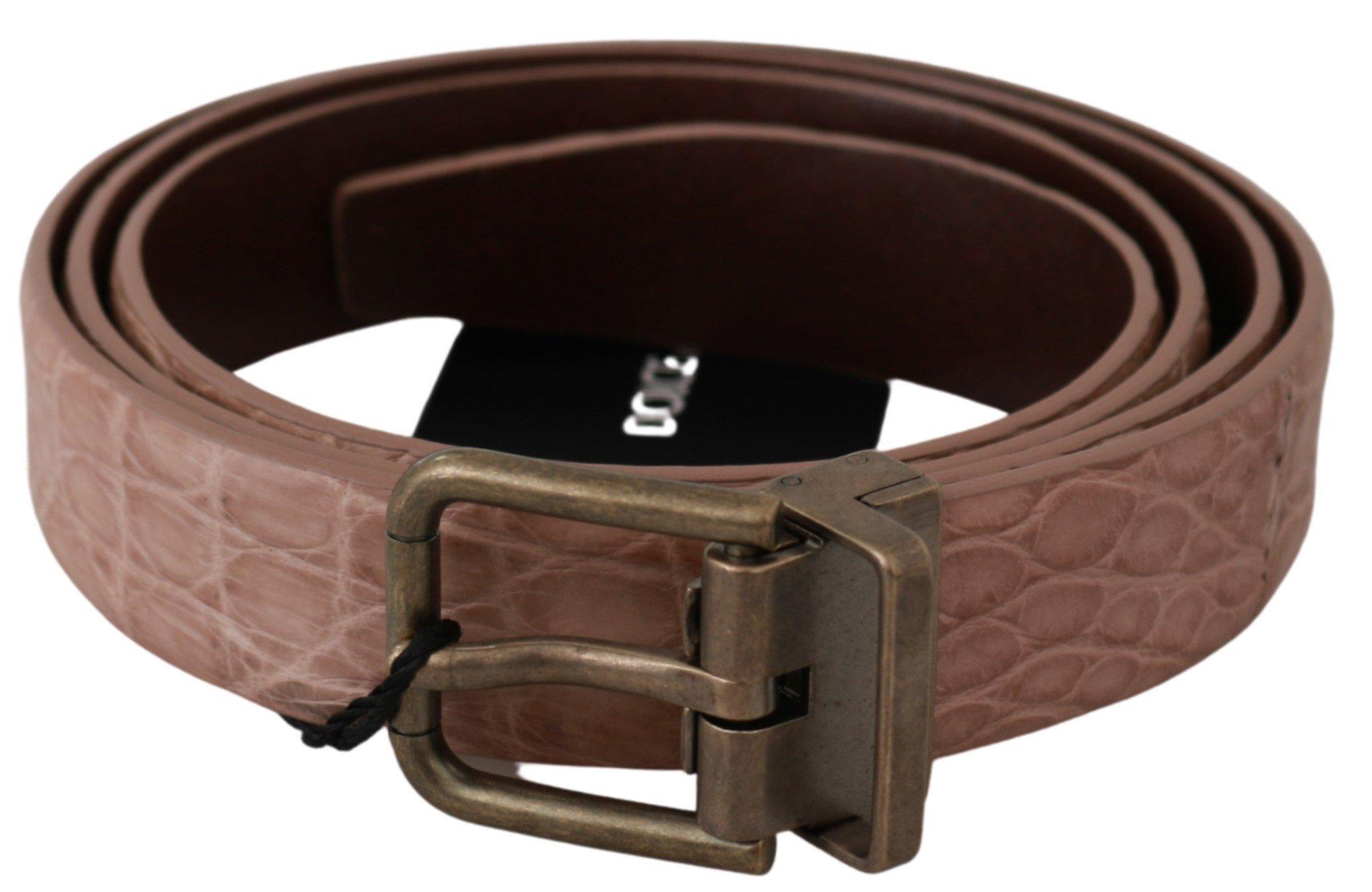 Dolce & Gabbana Men's Exotic Skin Buckle Leather Belt Beige BEL60604 - 100 cm / 40 Inches
