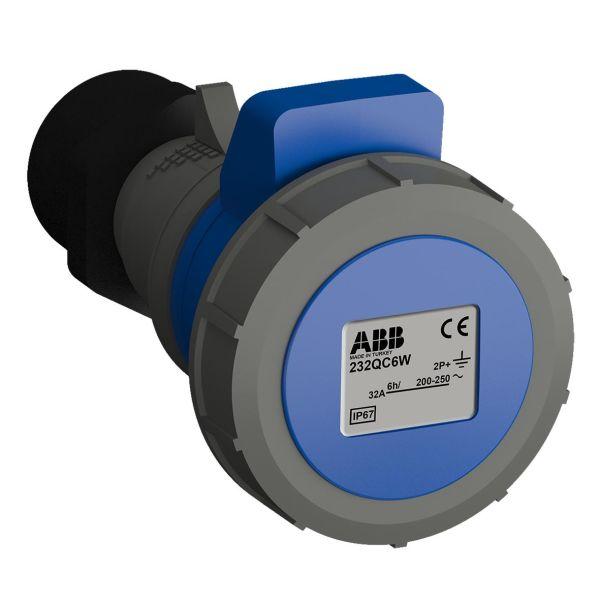 ABB 2CMA102356R1000 Jatkopistorasia pikaliitettävä, tärinänkestävä Sininen, 32 A, 3-napainen, IP67