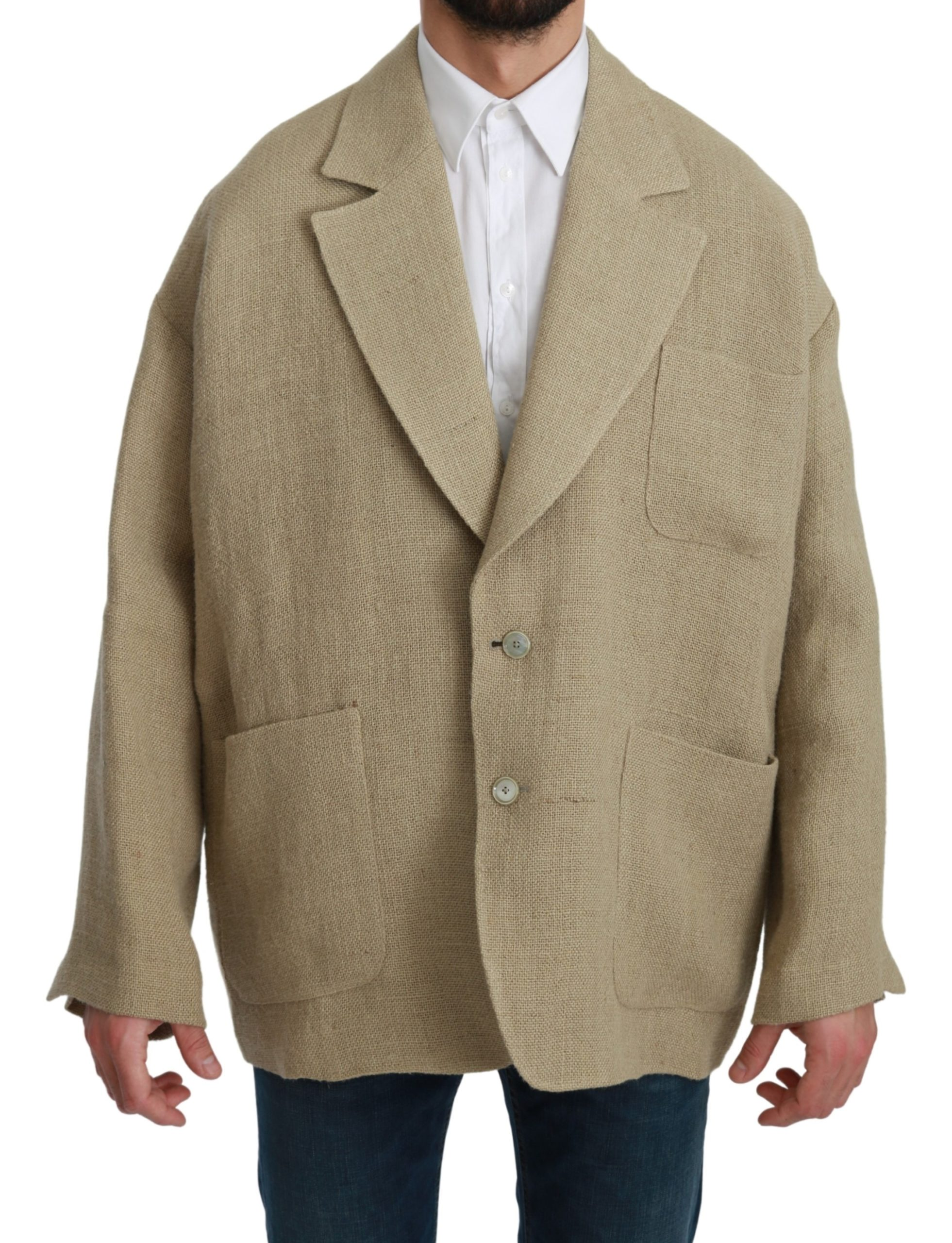Dolce & Gabbana Men's Jute Blazer Beige KOS1775 - IT46 | M