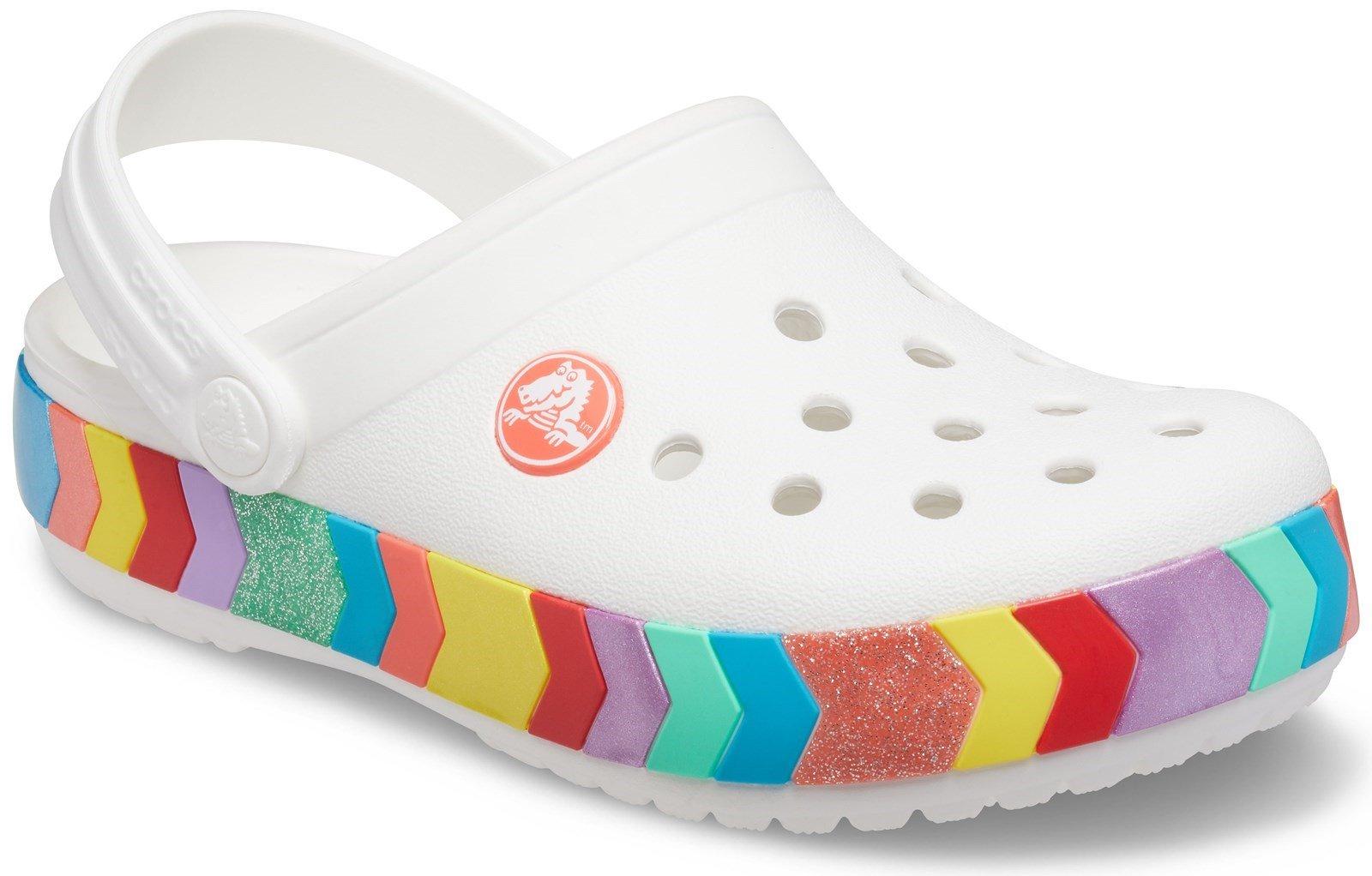 Crocs Kid's Crocband Chevron Beaded Clog Sandal White 31880 - White 4