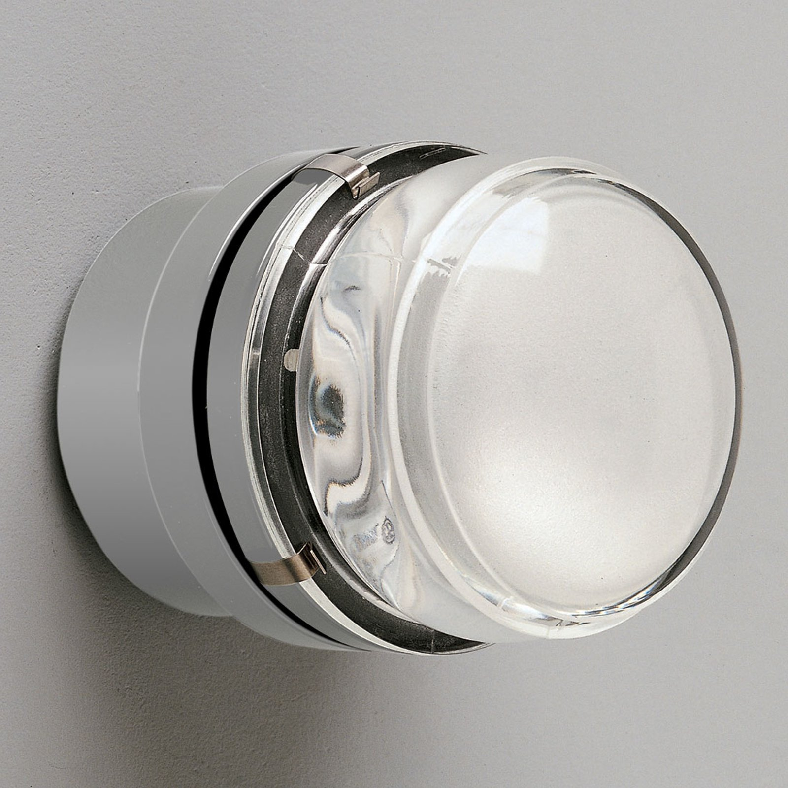 Fresnel - vegglampe med glasslinse, grå - IP44