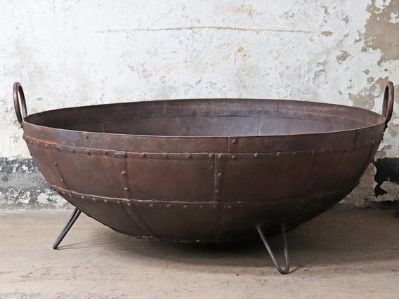 Antique Metal Kadai Fire Bowl - 130CM Brown