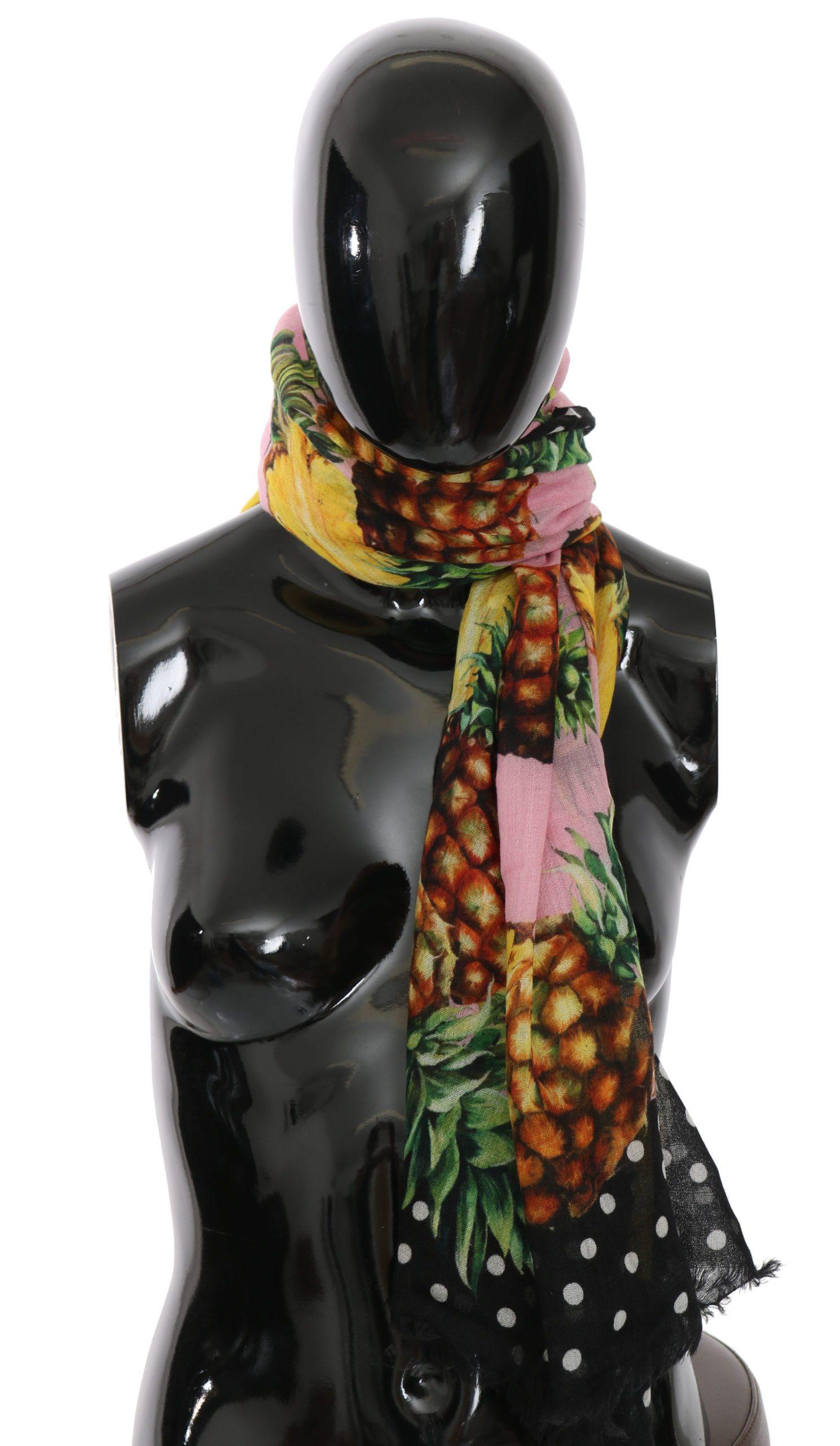 Dolce & Gabbana Women's Pineapple Cashmere Dot Scarf Pink MS5034BG
