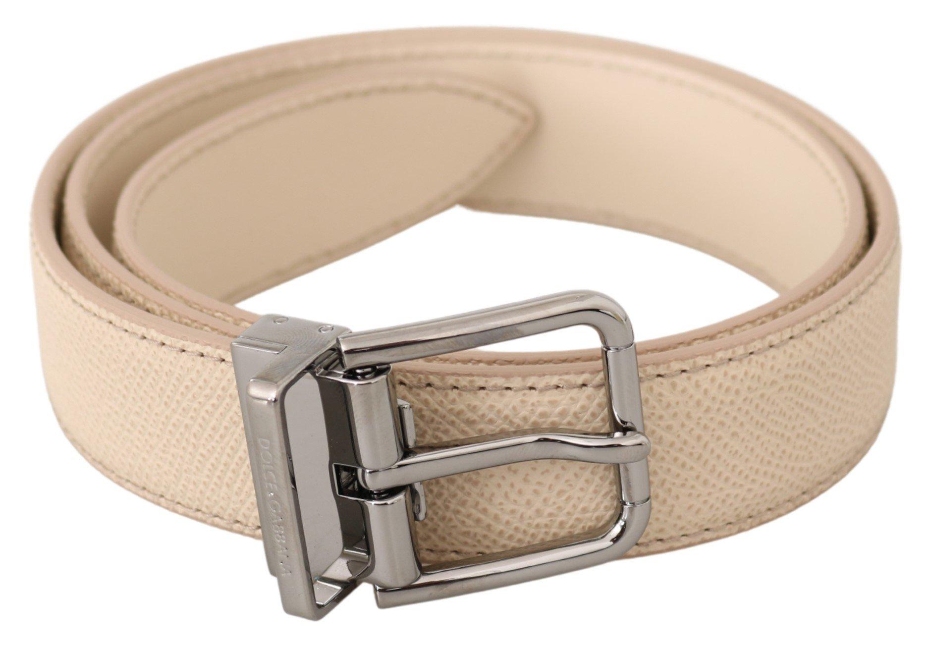 Dolce & Gabbana Men's Solid Leather Buckle Belt BEL60487BG - 75 cm / 30 Inches