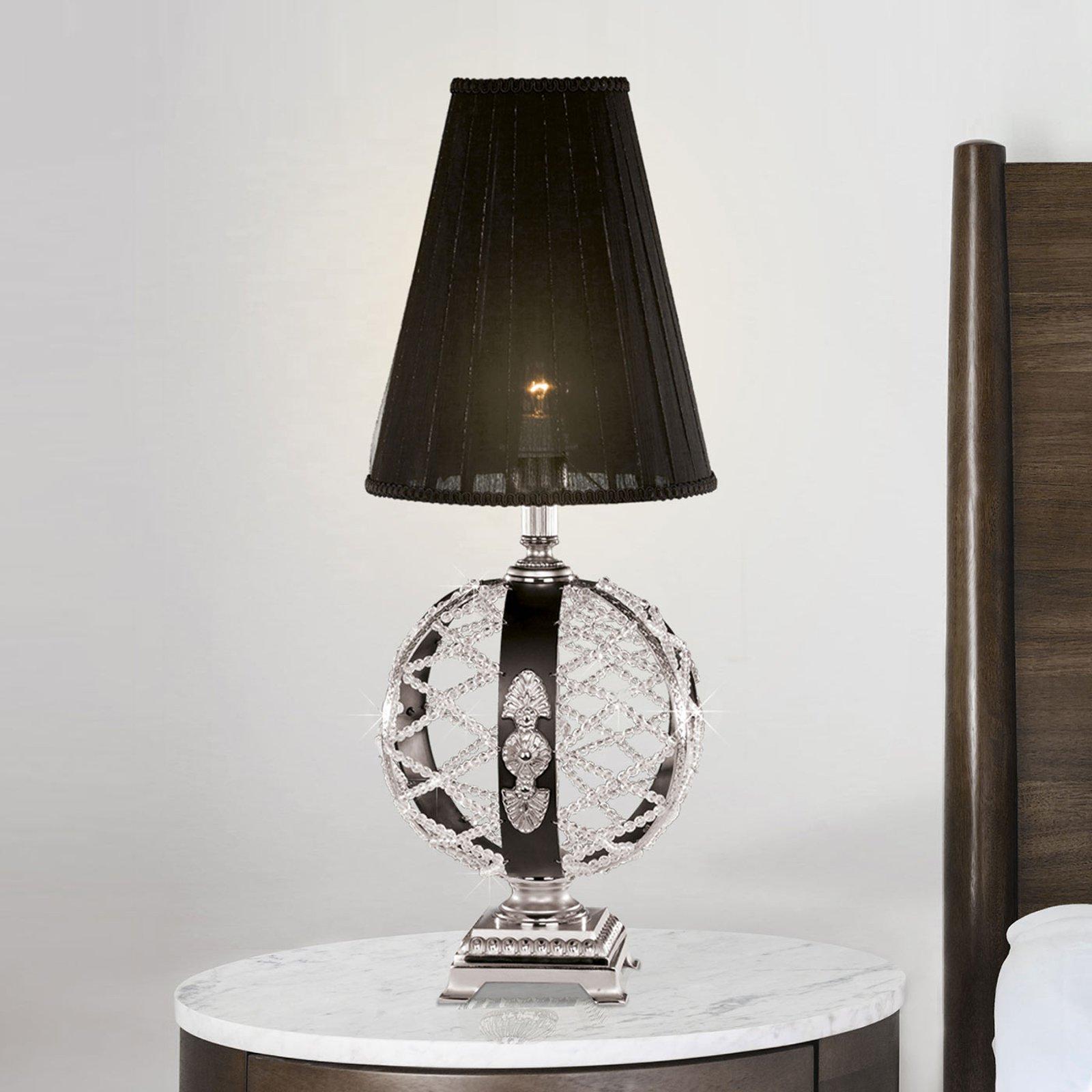 Bordlampe Arianna, svart, nikkel matt, krystall