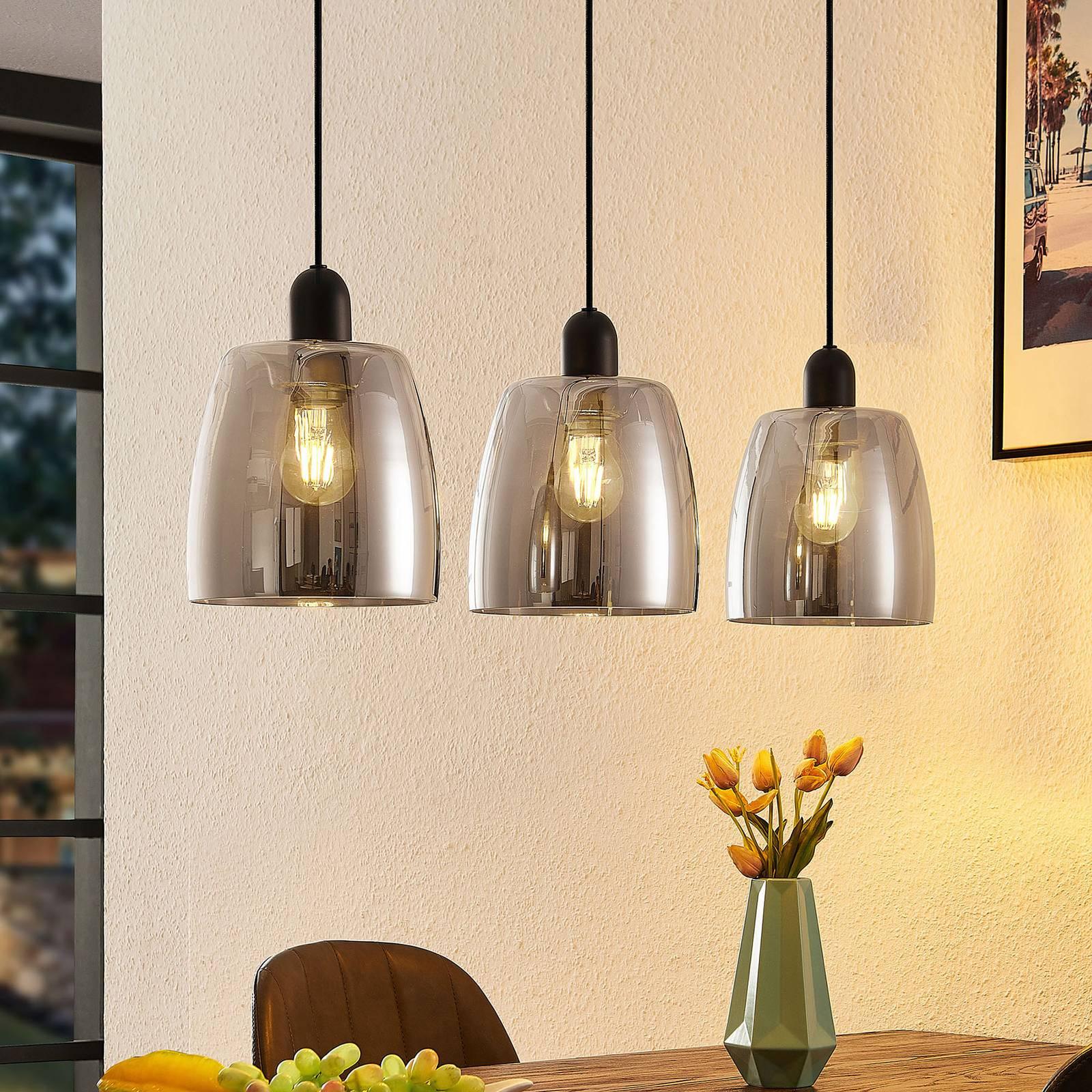 Lindby Yrell -riippuvalo, savulasia, 3-lamppuinen