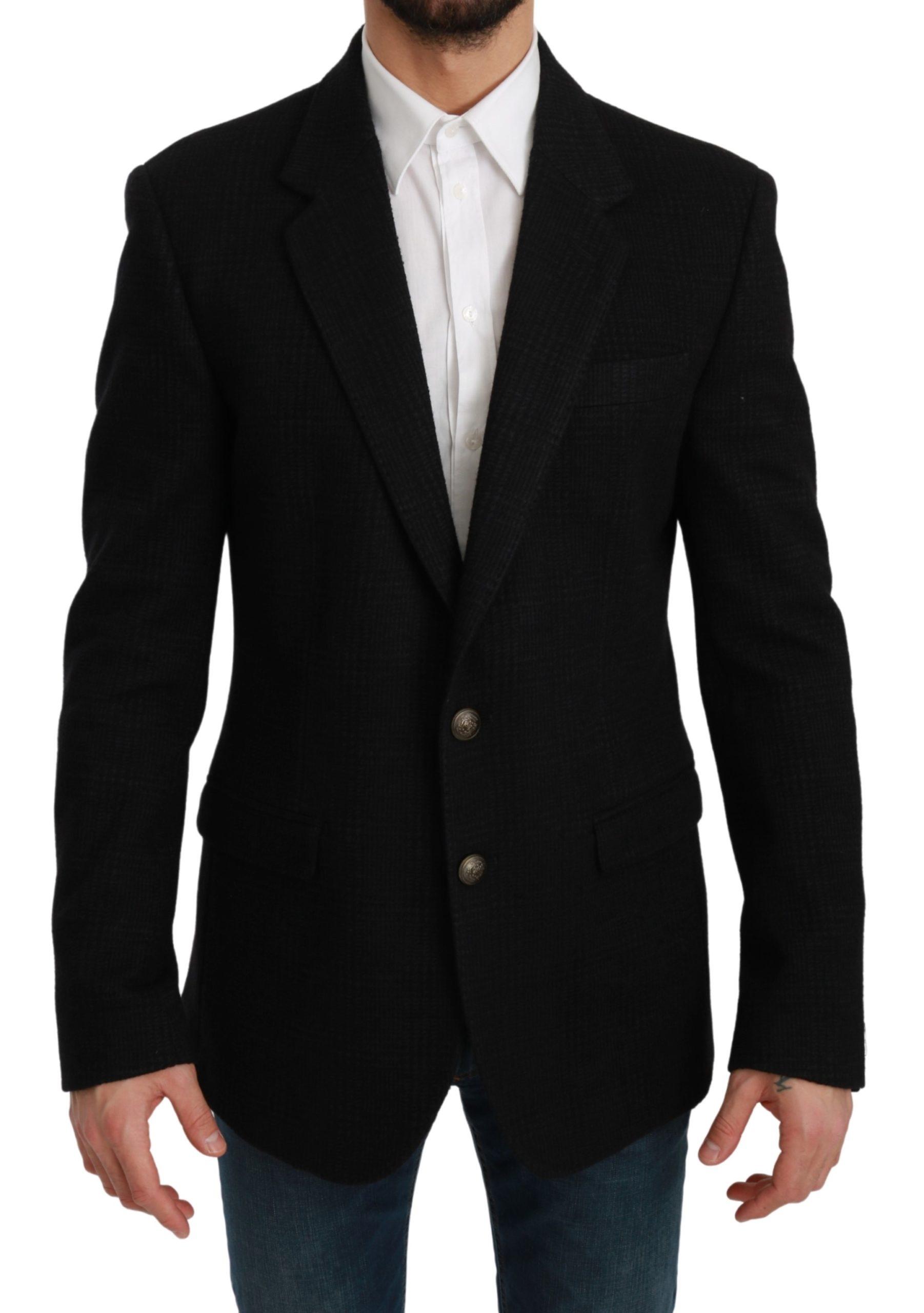Dolce & Gabbana Men's Check Wool Blazer Black KOS1726 - IT50   L