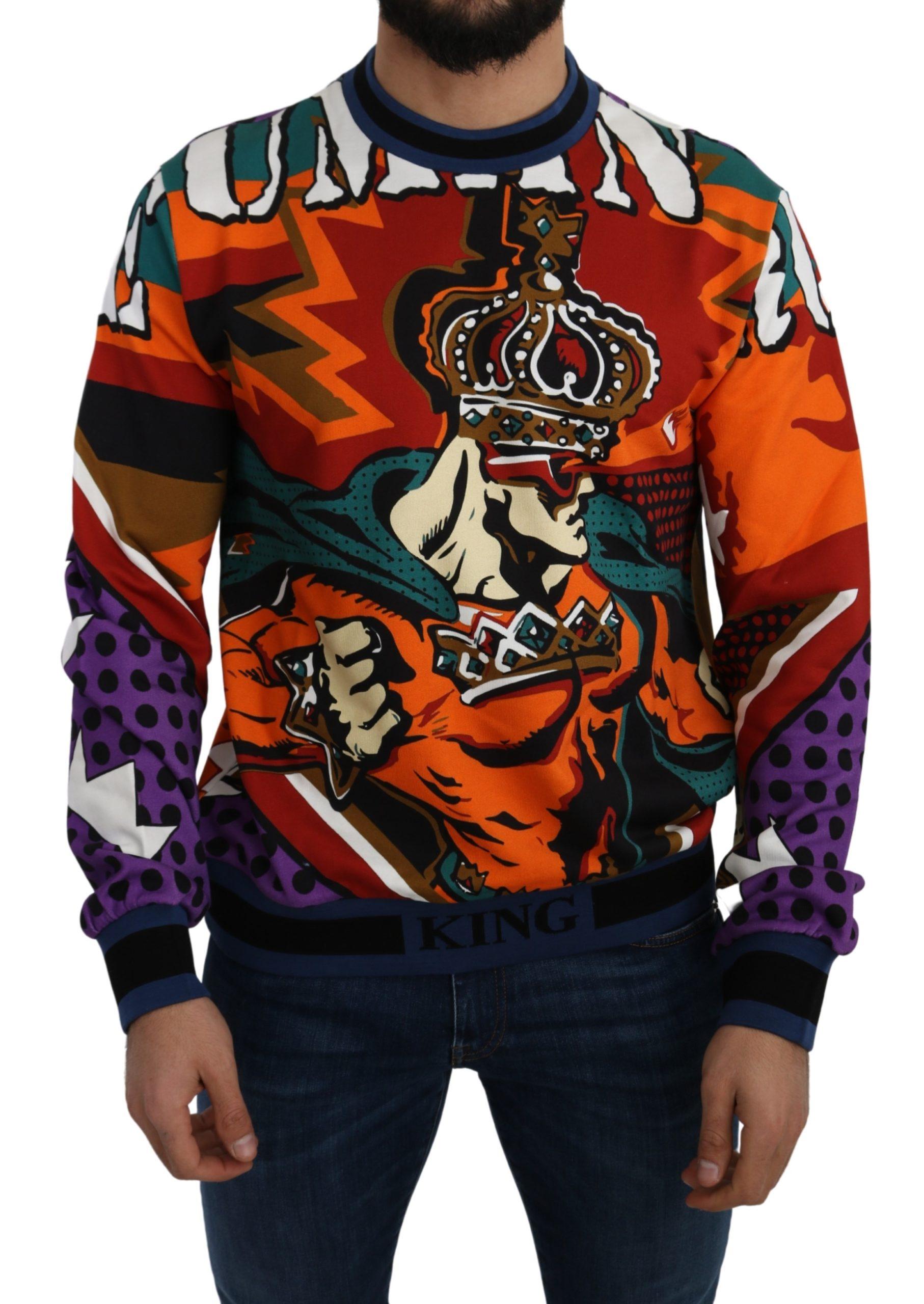 Dolce & Gabbana Men's Super Crown Cotton Crewneck Pullover Multicolor TSH5100 - IT44   XS