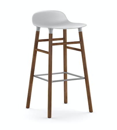 Form Barstol Hvit/Valnøtt 75 cm