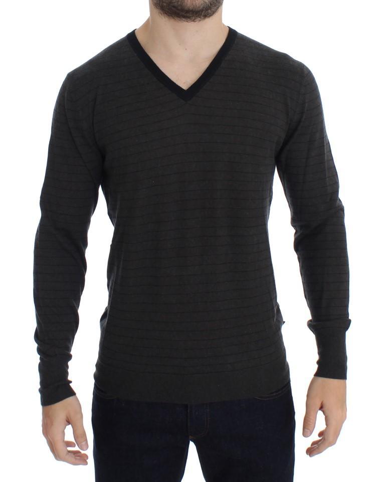 Costume National Men's Striped V-neck Sweater Gray SIG17788 - IT48 | M