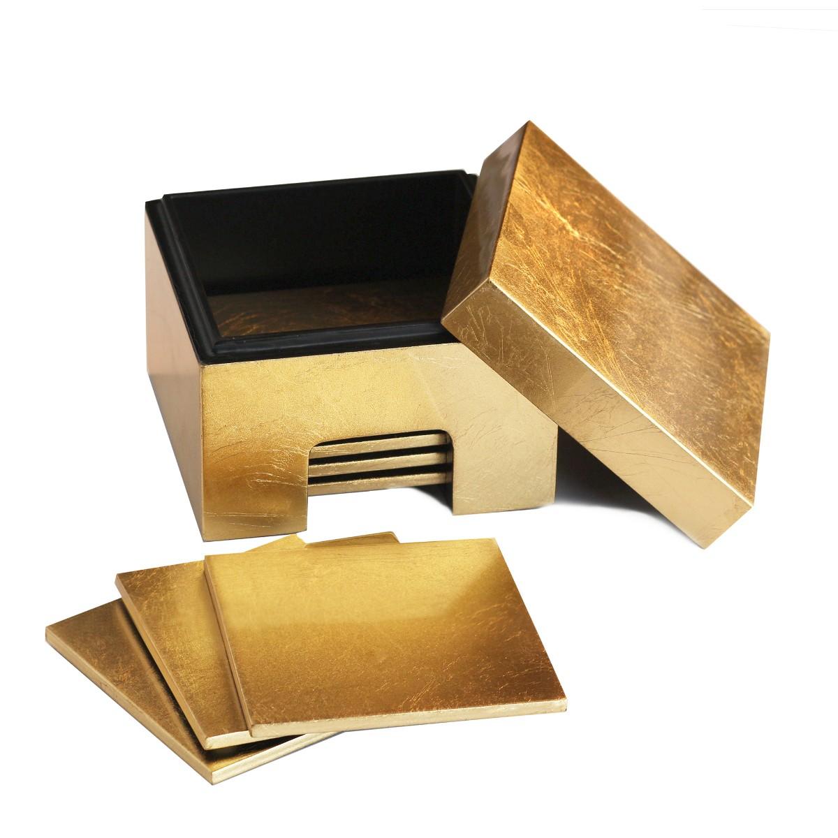 Posh Trading I Coasters I Coastbox Silver Leaf I Gold