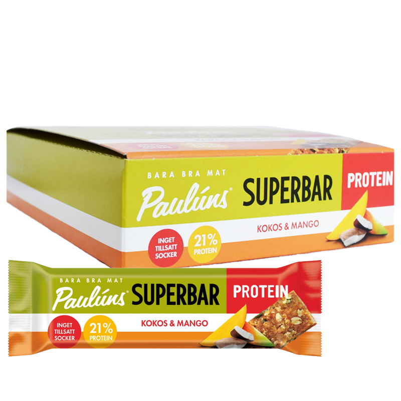 Hel Låda Superbars Kokos & Mango 15 x 40g - 70% rabatt