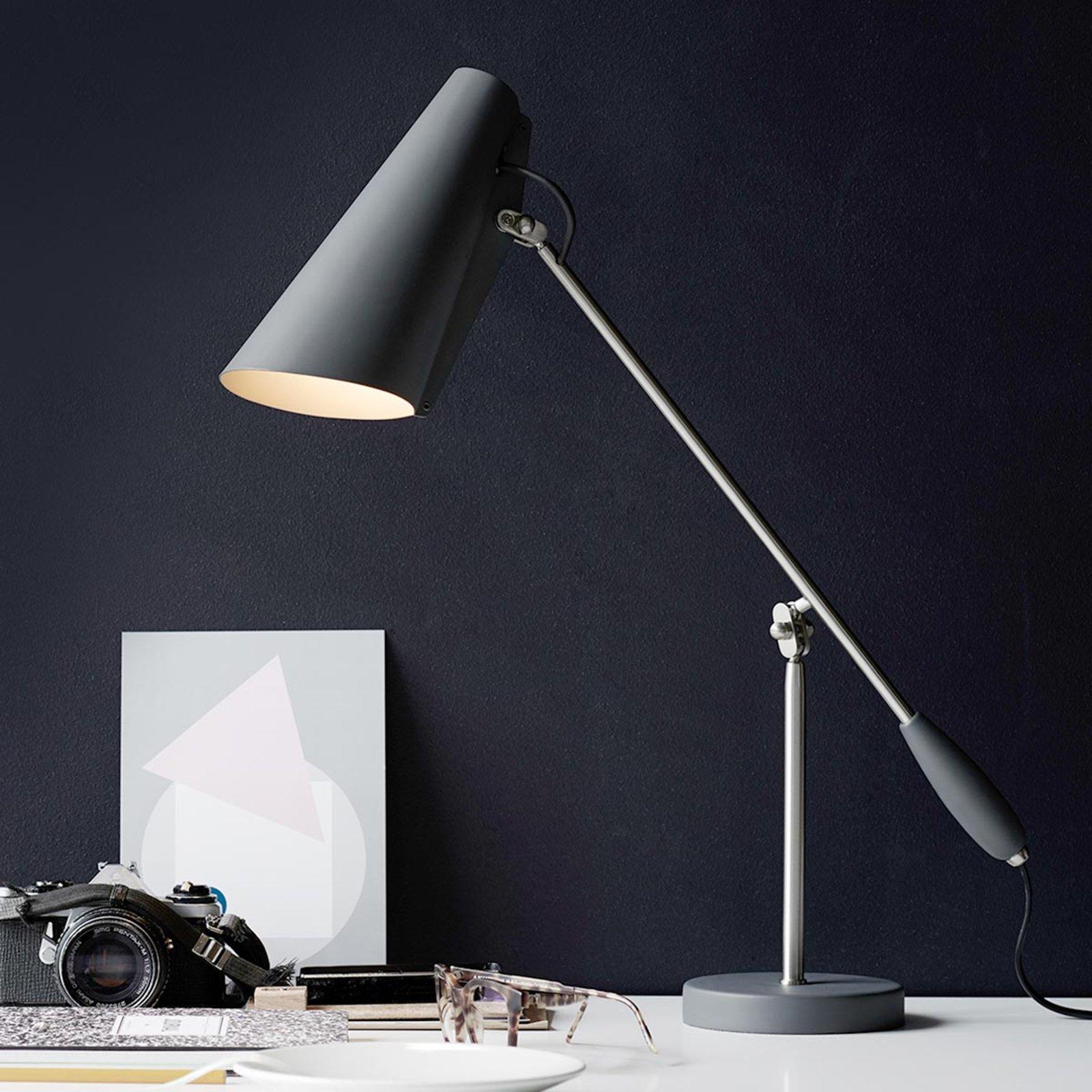 Bordlampe Birdy i retrostil, grå