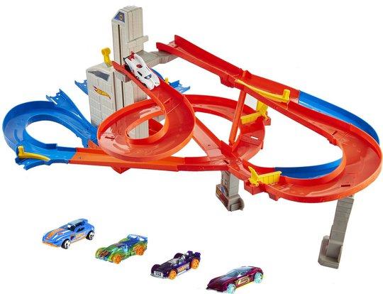 Hot Wheels Auto-Lift Expressway Bilbane Med 5 Biler