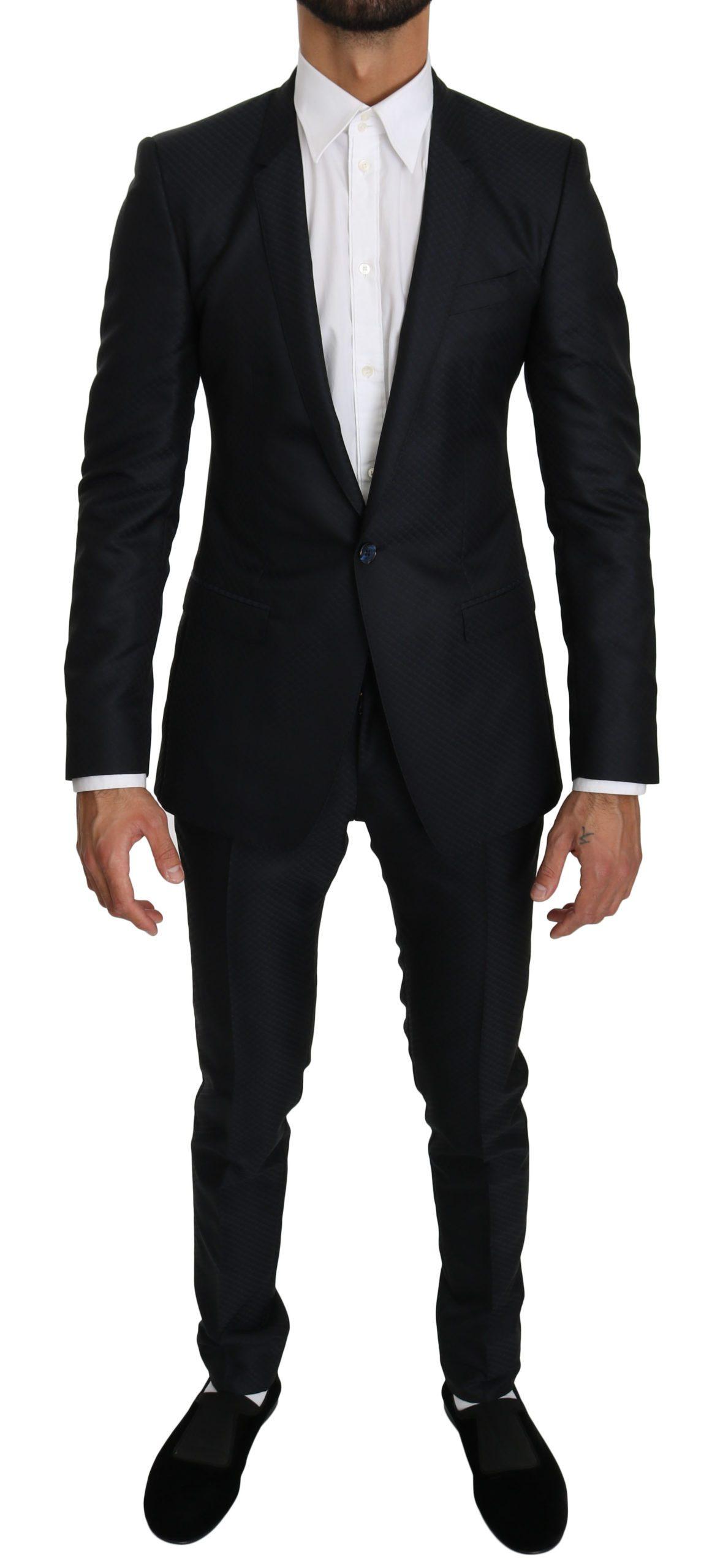 Dolce & Gabbana Men's GOLD Slim Fit Silk Wool Suit Blue KOS1542 - IT44   XS