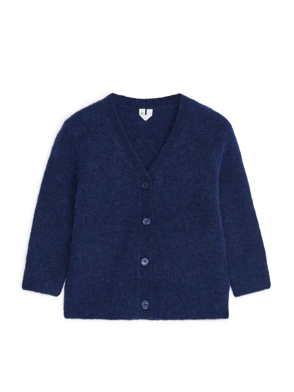Alpaca-Merino Cardigan - Blue
