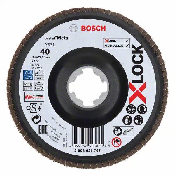 Bosch Best for Metal Lamellslipeskive med X-LOCK X571, vinklet 125 mm, G 40