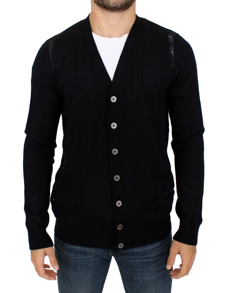 Karl Lagerfeld Men's Wool Cardigan Black SIG10576 - XL