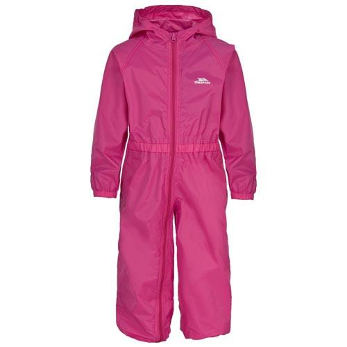 Trespass Kid's Waterproof All-In-One Suit Various Colours Button - Pink 6 to 12 Months